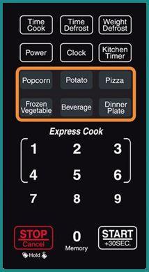 Farberware Classic Microwave Auto Cook Options